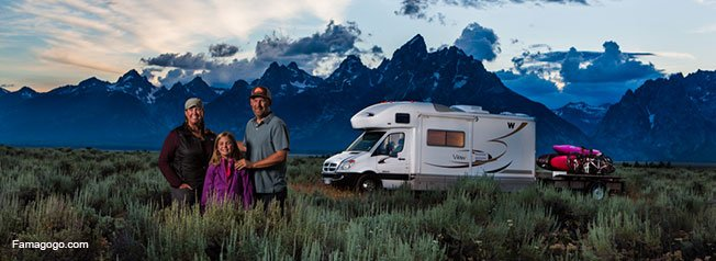 The Holcombe Family, their RV and kayaks! Photo Credit: Peter Holcombe Photography.com