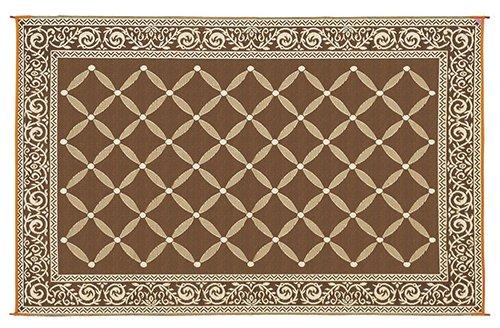 Brown Outdoor Rug 8 10: Reversible Mat Brown & Beige Patio Garden Mat (9' X 12
