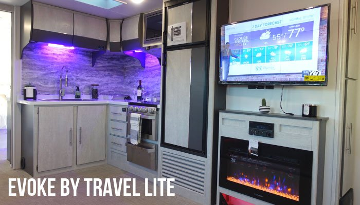 b731fae6ff10 We were hoping to find something new and different in RV interiors at the  RV Supershow and we found it with the Evoke travel trailer (Model C) by  Travel ...