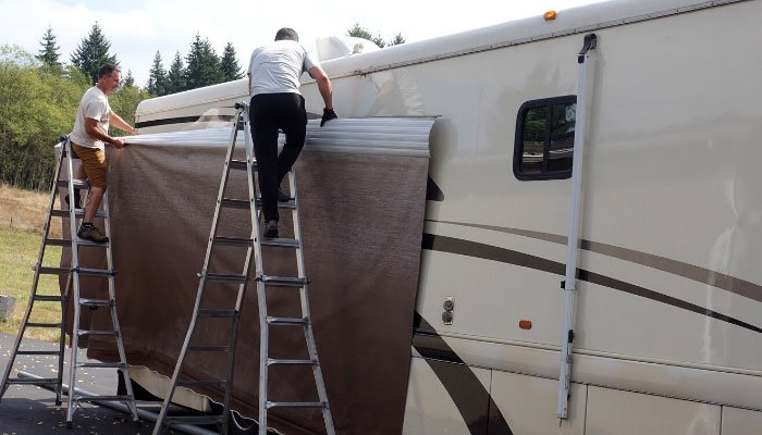New RV Awning Replacement Fabric and Slide Topper for our ...