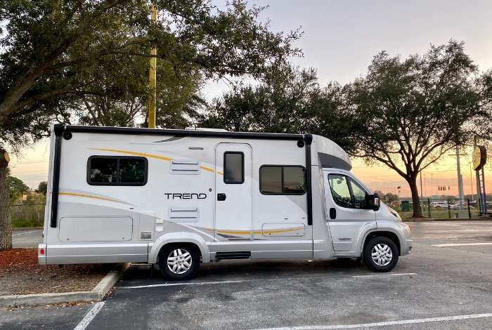 RV rental winnebago trend in parking lot