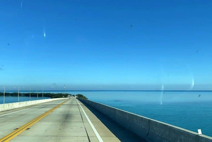 scene from driving on bridge in Florida keys