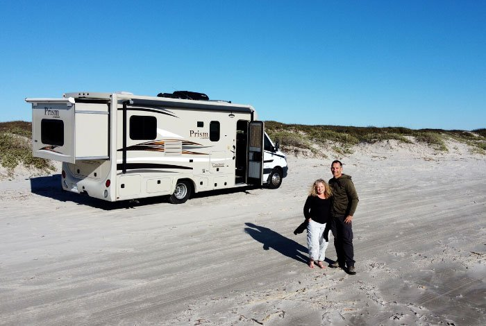 couple on beach in south padre with RV Rental