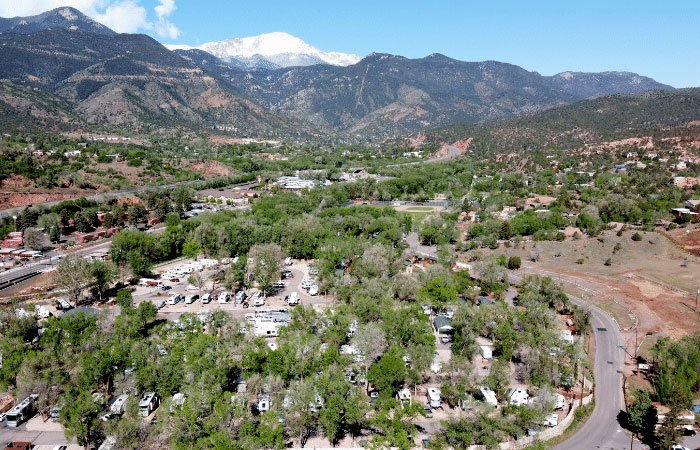 arial view of Garden of the Gods RV Resort