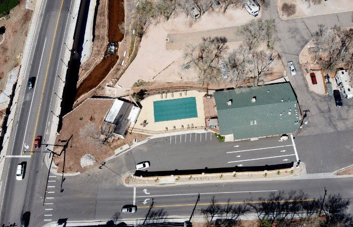 arial view of entrance to Garden of the Gods RV
