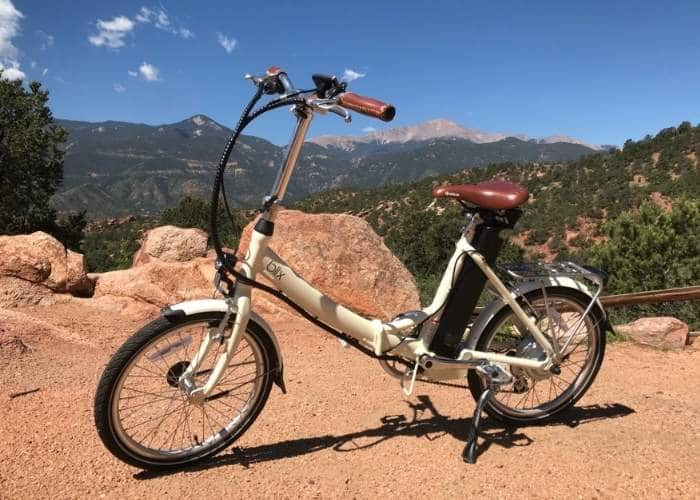 blix electric folding bike mountain scene